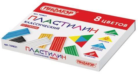 Набор пластилина ПИФАГОР классический 8 цветов набор пластилина пифагор классический 6 цветов