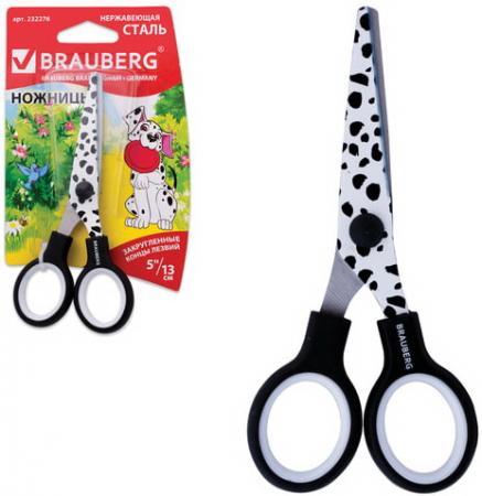 Ножницы BRAUBERG, 130 мм, с цветной печатью, чёрно-белые, в картонной упаковке с европодвесом, 232276
