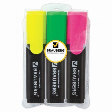 Набор текстмаркеров BRAUBERG Contract 1-5 мм 3 шт желтый зеленый розовый набор лаков lucky 3 шт голубой желтый зеленый