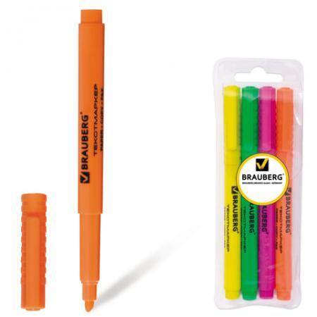 """Набор текстмаркеров BRAUBERG """"FLUOline"""" 1-3 мм 4 шт зеленый желтый розовый оранжевый"""