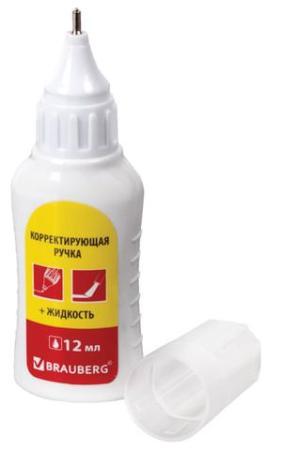 Ручка-корректор + корректирующая жидкость BRAUBERG, 12 мл, 2 в 1: металлический наконечник кисточка, 225217