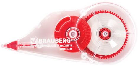 Корректирующая лента BRAUBERG 5 мм х 12 м, корпус прозрачный, с подкручиванием, блистер, 226814 корректирующая лента brauberg 5 мм х 20 м корпус синий механизм перемотки блистер 227799