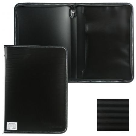 """Папка на молнии пластиковая BRAUBERG """"Contract"""", А4, 335х242 мм, внутренний карман, черная, 225162"""