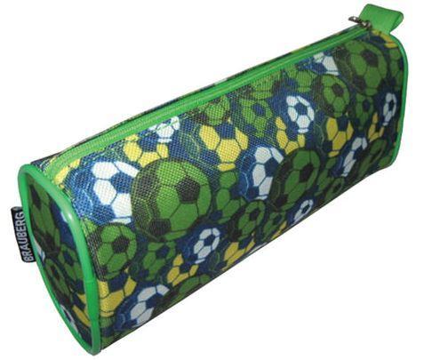 Пенал-косметичка BRAUBERG для учеников начальной школы, зеленый, футбольные мячи, 21х6х8 см, 223907 пенал косметичка brauberg стрекоза для начальной школы фиолетовый 20 х 10 см
