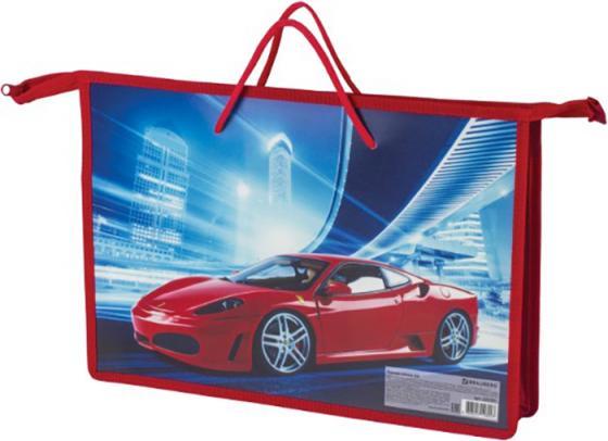 """Папка на молнии с ручками BRAUBERG, А4, пластик, для мальчиков, """"Красный авто"""", 225501 спейс папка с ручками а4 печать на пластике авто supercar"""