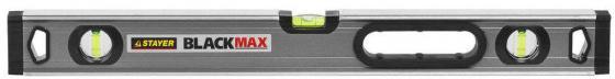 Уровень STAYER PROFESSIONAL BlackMax коробчатый усиленный с ручками, утолщенный особопроч профиль, 0,5мм/м, 3 ампулы, 60см уровень stayer professional i prolevel 1мм м 3 ампулы 100см 3477 100