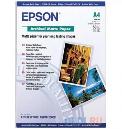 Фотобумага Epson C13S041342 A4 192 г/кв.м матовая архивная 50л фотобумага epson c13s041893