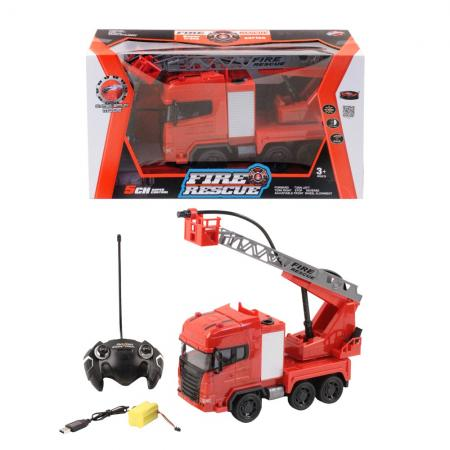 Фото - Пожарная машина на радиоуправлении SY cars Пожарная машинка красно-белый от 3 лет пластик, металл машина yako пожарная с подъёмником на радиоуправлении
