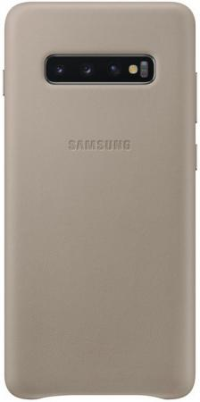 Чехол (клип-кейс) Samsung для Samsung Galaxy S10+ Leather Cover серый (EF-VG975LJEGRU) чехол клип кейс samsung для samsung galaxy s10 leather cover красный ef vg975lregru