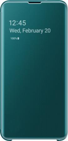 цена на Чехол (флип-кейс) Samsung для Samsung Galaxy S10e Clear View Cover зеленый (EF-ZG970CGEGRU)
