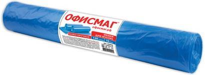 Мешки для мусора 120 л, синие, в рулоне 10 шт., ПВД, 40 мкм, 70х110 см (±5%), особо прочные, ОФИСМАГ, 602929