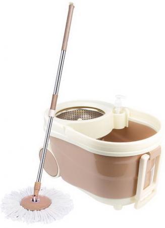 Набор для уборки ЛАЙМА, ведро 9 л с отжимом на колесах, швабра с круглой насадкой (2 шт., кольцо), 603621 цена