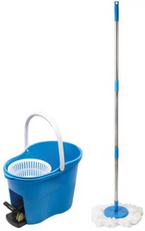 Набор для уборки ЛАЙМА, ведро 7 л с отжимом и педалью, швабра с круглой насадкой (2 шт., кольцо), 603623 цена и фото