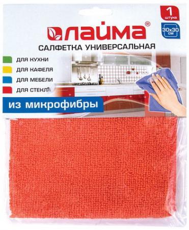 Салфетка универсальная, микрофибра, 30х30 см, оранжевая, ЛАЙМА, 601242 салфетка хозяйкинъ универсальная микрофибра 30х30 см