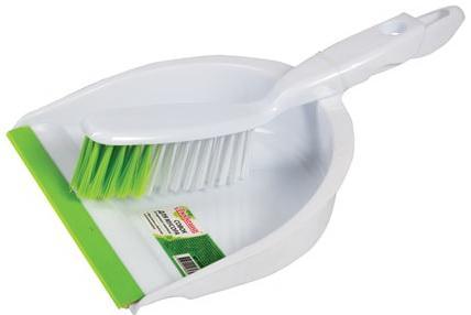 Совок для мусора ЛЮБАША со щеткой-сметкой, пластик, резиновая кромка, 603615 совок для мусора с щеткой fratelli re mini 11701 a