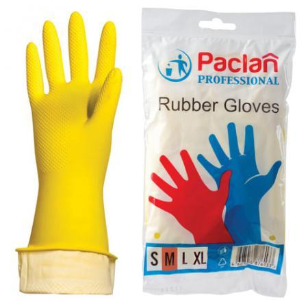 """Перчатки хозяйственные резиновые PACLAN """"Professional"""", с х/б напылением, размер M (средний), желтые чемодан средний m best bags il mondo 1333 60 б 13330460"""