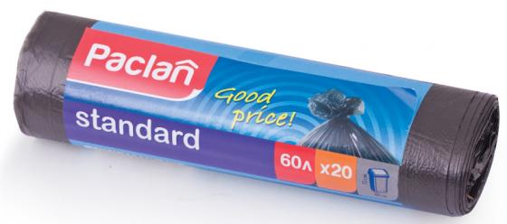 Фото - Мешки для мусора 60 л, черные, в рулоне 20 шт., ПНД, 7,4 мкм, 60х72 см, PACLAN Standard мешки для мусора 120 л синие в рулоне 10 шт пнд 20 мкм 110х70 см paclan classic