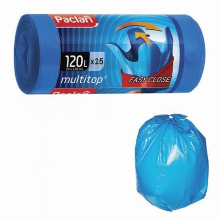 Мешки для мусора 120 л, с ушками, синие, в рулоне 15 шт., ПВД, 24 мкм, 70х118 см, PACLAN Multitop, 402045 цена