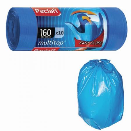 Мешки для мусора 160 л, с ушками, синие, в рулоне 10 шт., ПВД, 30 мкм, 90х125 см, PACLAN Multitop, 134442 цена