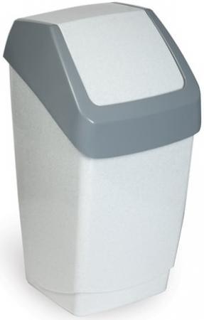 Ведро-контейнер 15 л, с крышкой (качающейся), для мусора, Хапс, 46х26х25 см, серое, IDEA, М 2471 таз idea с ручками цвет красный 24 л