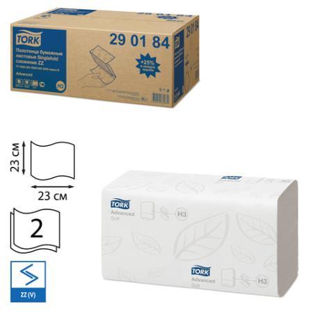 Полотенца бумажные, 200 шт., TORK (Система H3) Advanced, комплект 20 шт., 2-слойные, белые, 23х23, ZZ(V), 290184 полотенца бумажные 200 шт veiro система h3 комплект 20 шт premium 2 слойные белые 21х21 6 v kv306