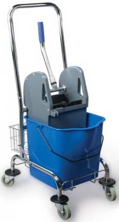 цена на Тележка уборочная BRABIX, 1 съемное ведро 25 л, механический отжим, корзина, металлический каркас, синяя, 601498