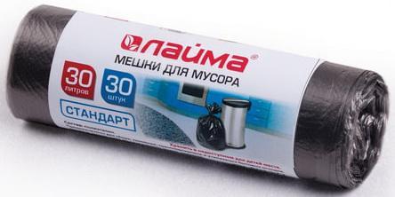 Фото - Мешки для мусора 30 л, черные, в рулоне 30 шт., ПНД, 8 мкм, 50х60 см (±5%), стандарт, ЛАЙМА, 601377 мешки для мусора 30 л черные в рулоне 30 шт пнд 8 мкм 50х60 см офисмаг стандарт 601379