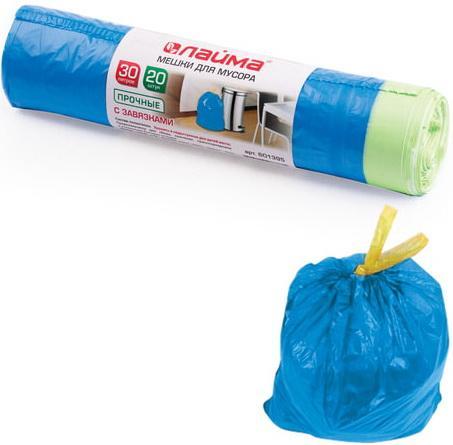 Фото - Мешки для мусора 30 л, завязки, синие, в рулоне 20 шт., ПНД, 12 мкм, 50х60 см (±5%), прочные, ЛАЙМА, 601395 мешки для мусора 120 л синие в рулоне 10 шт пнд 20 мкм 110х70 см paclan classic