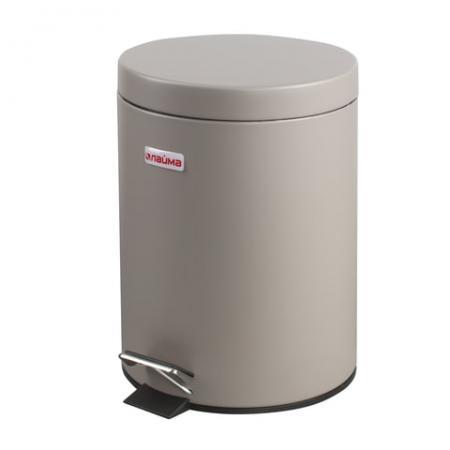 цена на Ведро-контейнер для мусора (урна) с педалью ЛАЙМА Classic, 5 л, серое, матовое, металл, со съемным внутренним ведром, 602849