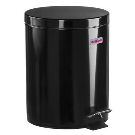 цена на Ведро-контейнер для мусора (урна) с педалью ЛАЙМА Classic, 5 л, черное, глянцевое, металл, со съемным внутренним ведром, 604943