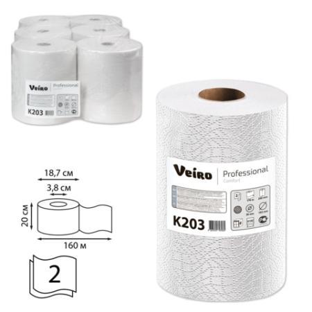 Полотенца бумажные рулонные VEIRO Professional (Система H1), комплект 6 шт., Comfort, 160 м, 2-слойные, белые, K203 start line standart 2 6 шт белые 23022