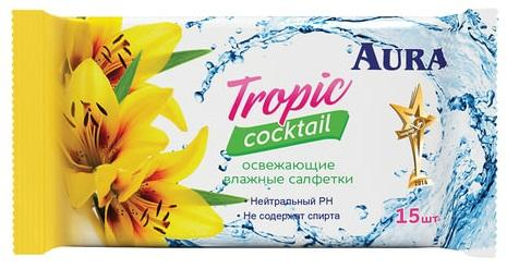 aura детские влажные салфетки aura ultra comfort 100 шт Салфетки влажные AURA Tropic cocktail 15 шт нетканные не содержит спирта пропитка лосьёном
