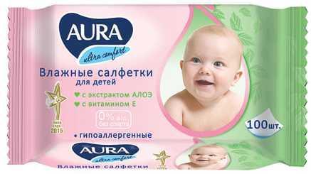 aura детские влажные салфетки aura ultra comfort 100 шт Салфетки влажные КОМПЛЕКТ 100 шт., для детей AURA Ultra comfort, универсальные, очищающие, гипоаллергенные, без спирта, 5637