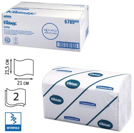 цена на Полотенца бумажные 186 шт., KIMBERLY-CLARK Kleenex, комп. 15 шт., Ultra, 2-х слойн., белые, 21х21,5см, Interfold, 601533-534, 6789