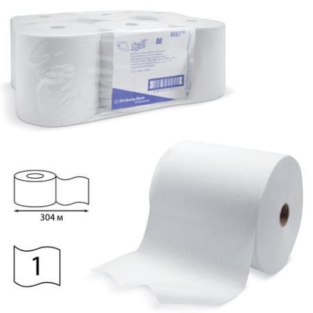 Полотенца бумажные рулонные KIMBERLY-CLARK Scott, комплект 6 шт., 304 м, белые, диспенсер 601536, АРТ. 6667 диспенсер для мыла kimberly clark professional цвет металлический 8973