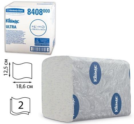 Бумага туалетная KIMBERLY-CLARK Kleenex, комплект 36 шт., Ultra, листовая, 200 л., 18,6х12,5 см, 2-слойная, диспенсер 601545, 8408 диспенсер для мыла kimberly clark professional цвет металлический 8973