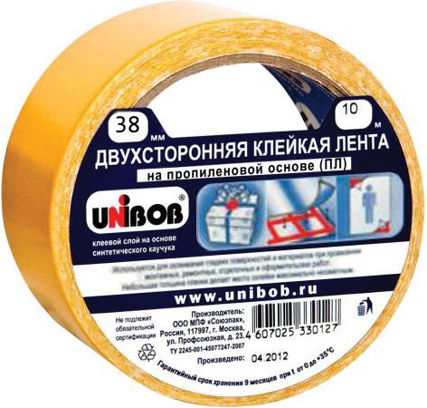 Клейкая лента Unibob 600017 38мм x 10 м двухсторонняя, основа - полипропилен клейкая лента unibob малярная 38mm x 50m 28138