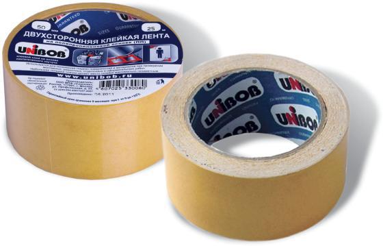 Клейкая лента Unibob 600018 50мм x 25 м двухсторонняя, основа - полипропилен клейкая лента brauberg 600480 50мм x 25 м двухсторонняя основа полипропилен