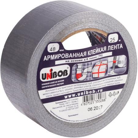 Клейкая лента Unibob 600855 48мм x 25 м армированная, основа - х/б ткань, прочная лента unibob для укладки ковровых покрытий ткань 50 мм х 10 м