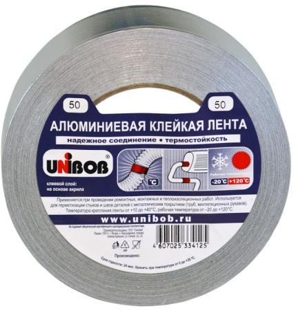 Клейкая лента Unibob 67668 50мм x 50 м алюминиевая, морозостойкая клейкая лента unibob малярная 38mm x 50m 28138