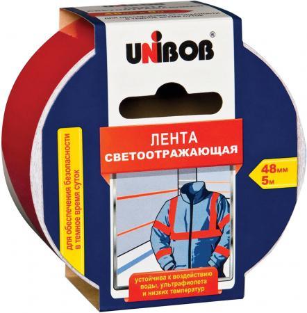 Клейкая лента Unibob 48984 48мм x 5 м светоотражающая, красно-белая клейкая лента монтажная двусторонняя deli 5 м белая