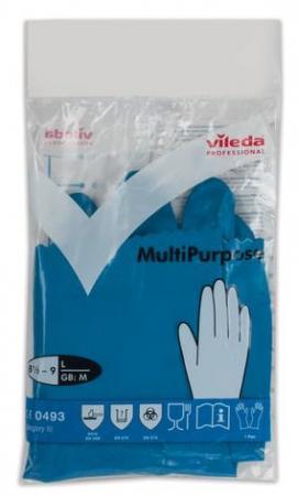 Перчатки хозяйственные резиновые VILEDA многоцелевые, с х/б напылением, прочные, размер L (большой), 100754
