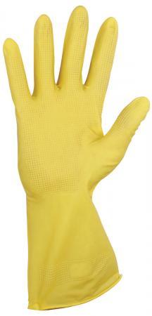 Перчатки хозяйственные резиновые YORK, суперплотные, с х/б напылением, рифленая ладонь, размер L (большой), 92010