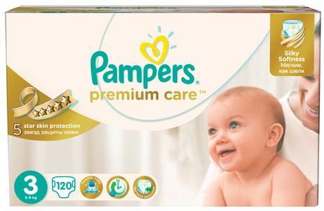 цена на Подгузники КОМПЛЕКТ 120 шт. PAMPERS (Памперс) Premium Care, размер 3 (5-9 кг)