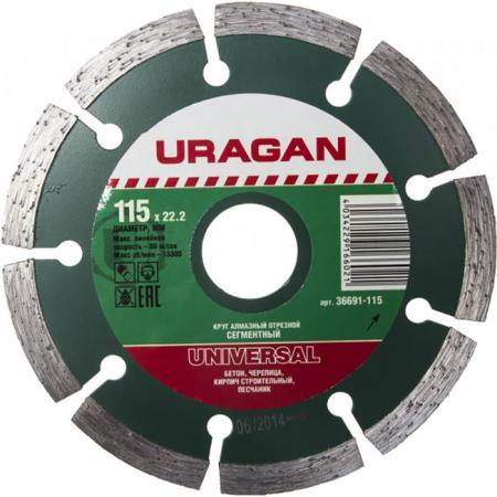 Круг отрезной алмазный URAGAN сегментный, сухая резка, 22,2х115мм диск harden 611302 алмазный отрезной сегментный 125 х 22 2mm сухая резка