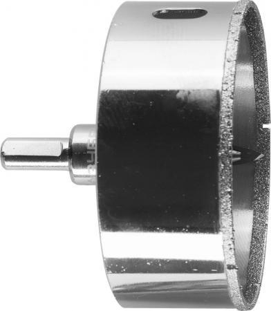 Коронка алмазная по кафелю и стеклу, d=83 мм, зерно Р 60, в сборе с центрирующим сверлом и имбусовым ключом, ЗУБР Профессионал 29850-83 цены онлайн