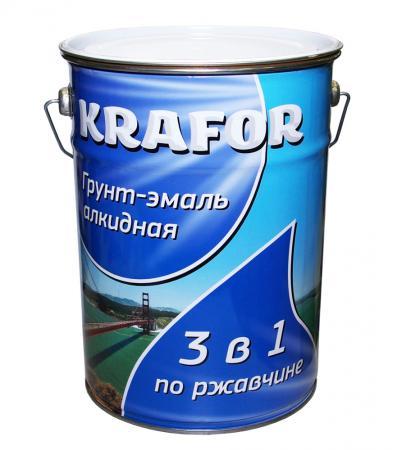 ГРУНТ- ЭМАЛЬ ПО РЖАВЧИНЕ БЕЛАЯ 5,5 КГ (4) KRAFOR грунт эмаль по ржавчине зеленая krafor 5 5кг