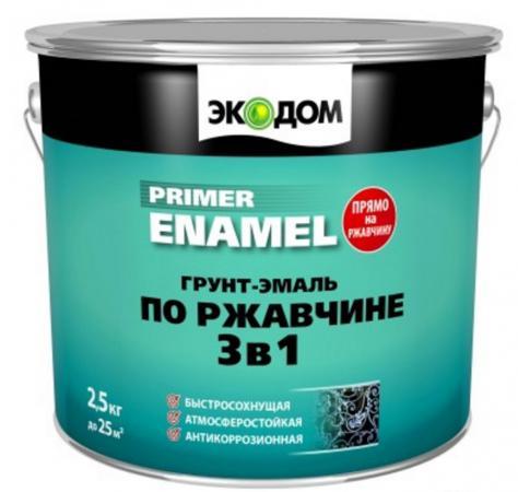 ГРУНТ- ЭМАЛЬ ПО РЖАВЧИНЕ ЭКОДОМ 3 В 1 БЕЛАЯ 2,5 КГ (4) РОГНЕДА грунт эмаль по ржавчине 3 в 1 экодом красно коричневая 2 5 кг