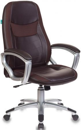 Кресло руководителя Бюрократ T-9910N/BROWN коричневый искусственная кожа (пластик серебро) кресло руководителя бюрократ t 9910n black черный искусственная кожа пластик серебро