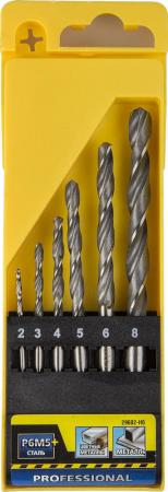 цена на Набор сверл по металлу 6 шт (d=2-8 мм), быстрорежущая сталь Р6М5, STAYER PROFI 29602-H6, DIN 338